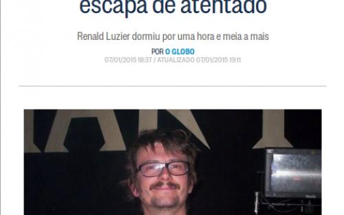 Imagem de notícia do jornal O Globo, sobre o atraso do cartunista Luz, que salvou sua vida no atentado à redação do jornal Charlie Hebdo